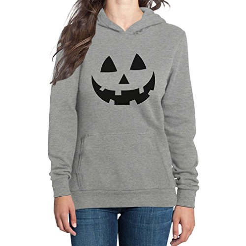 Lustiges Kürbiskopf Gesicht Bestes Halloween Kostüm Frauen Kapuzenpullover Hood XXXX-Large Grau (Lustige Halloween-kostüm Für Frauen)