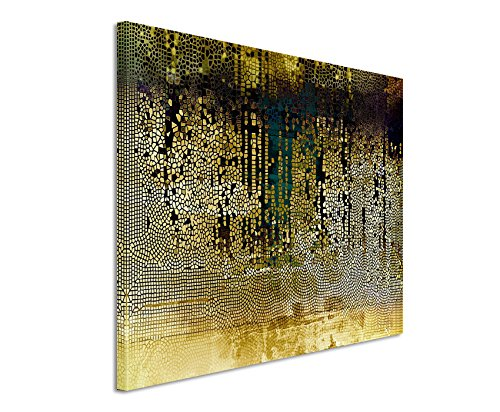 XXL Fotoleinwand 120x80cm Vintage Mosaik mi Beige, Braun, Blau, Grau, Schwarz und Weiß auf Leinwand exklusives Wandbild moderne Fotografie für ihre Wand in vielen Größen (Mosaik Moderne)