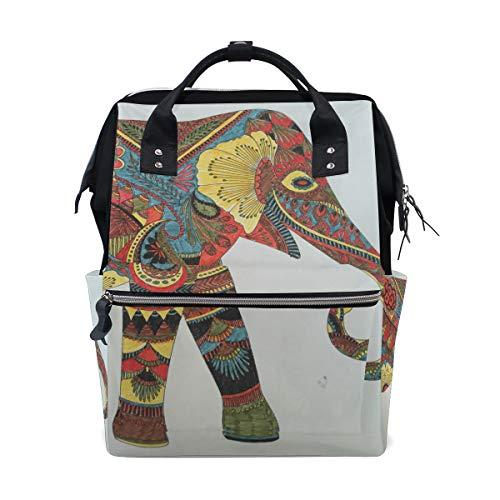 FAJRO Mochila de Viaje Estilo Indio con Dibujo de Elefante, Mochila de Lona para la Escuela