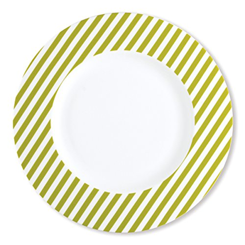 Bruno Evrard Assiette Plate à Rayures Vert anis en Porcelaine 29cm - Lot de 6 - Freshness Stripe