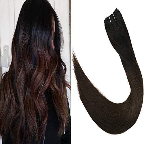 LaaVoo 55cm Remy Tressen Naturlich Schwarz Ombre Dunkelbraun Smooth Straight Weave Bundles Peruvian Hair 8A Sew in Extensions 100GR -