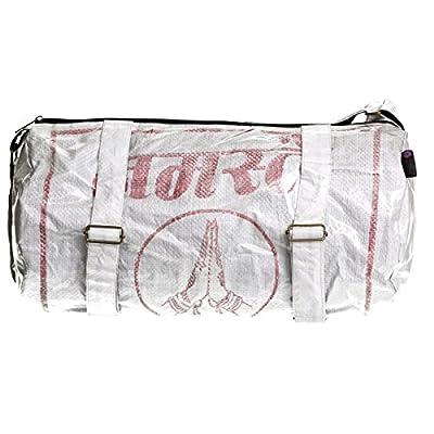 Shakti Milan Yoga Sporttasche Red Namaste Hände Upcycled Tasche recycled Reissack Schultertasche Schultasche Umhängetasche Meditation