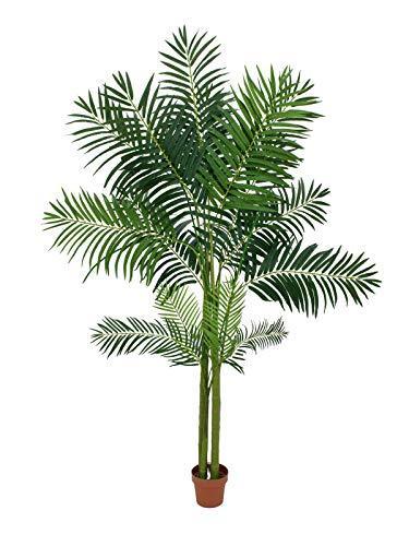 artplants Set 2 x Künstliche Areca Palme mit 1020 Blättern, 4 Stämme, 240 cm, Outdoor – Areca Palme künstlich/Deko Palme