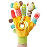 Fehn 074604 Spielhandschuh Safari – Fingerpuppen-Handschuh Affe und Elefant mit Rassel und Quietsche für Babys und Kleinkinder ab 0+ Monaten
