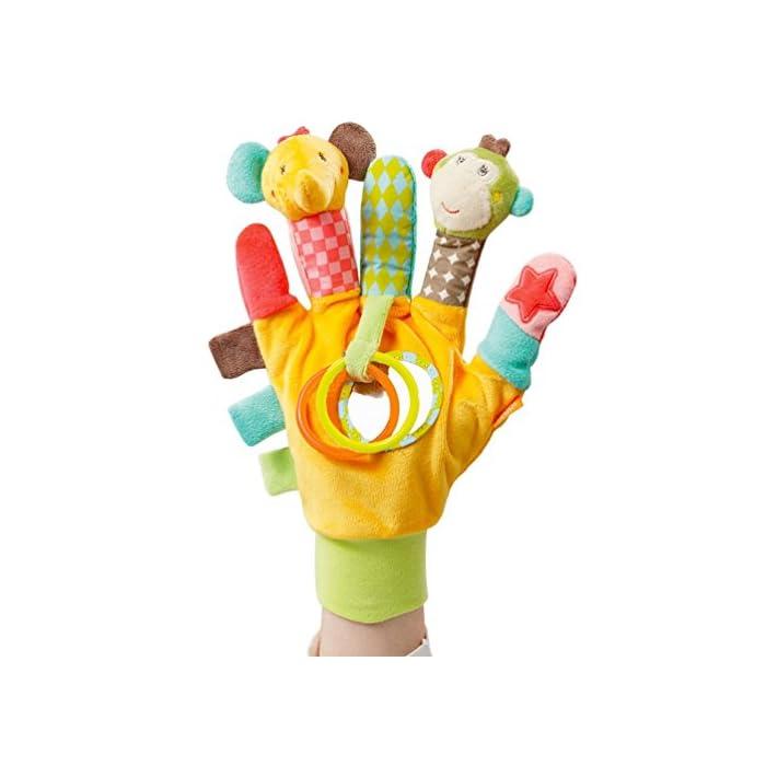 Fehn 074604 Spielhandschuh Safari – Fingerpuppen-Handschuh Affe und Elefant mit Rassel und Quietsche für Babys und…