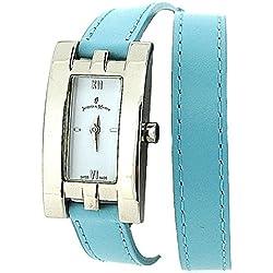 Jacques Du Manoir Ladies White Dial Light Blue Extra Long Multi-Wrap Strap Watch