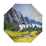 ALAZA Öl Berge und Bäume Gemälde Landschaft Regenschirm Reise Auto Öffnen Schließen UV-Schutz-windundurchlässiges Leichtes Regenschirm