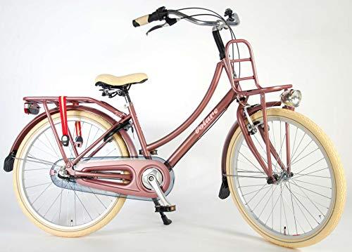 Kinderfahrrad Mädchen 24 Zoll Excellent mit Vorradbremse am Lenker und Rücktrittbremse Shimano 3 Gang 95% Zusammengebaut Antike Rose