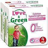 Love & Green - Pack de 20 Culottes Hypoallergéniques -  Taille 4 (7-14 kg)  - Lot de 2