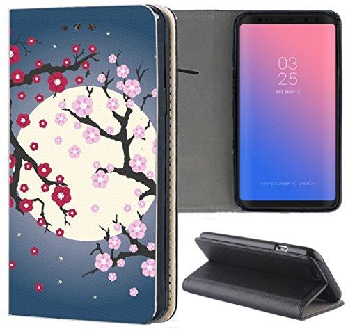 Huawei P20 Lite Hülle Premium Smart Einseitig Flipcover Hülle P20 Lite Flip Case Handyhülle Huawei P20 Lite Motiv (1547 Blüten Mond Cartoon Abstract) - Mond Blüten
