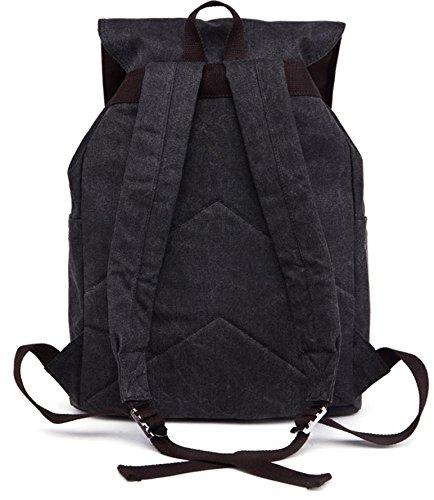 &ZHOU Borsa di tela, Borsa di grande capacità di tela borsa a tracolla zaino multifunzionale casual retrò zainetto unisex alpinismo borse , black Black