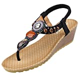 Zicac Frauen Boho Stil Runde Peep Clip Toe Keilabsatz Bead Elastische T-Strap Böhmen Roman Sandalen Sommer Strand Post Sandalen Flip Flops Schuhe Thongs (EU 37 (Asia 38), Schwarz)