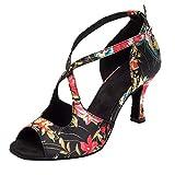 KQJLatin Mujer Satinado Zapatos de baile latino Imprimiendo Metal Hebilla Modernos Tacon alto...