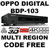 Lecteur Blu Ray OPPO BDP-103 2D/3D 2K/4K PRO MOD MultiZone Blu Ray Zone A/B/C & Multi Region Code Free DVD 012345678. Dual HDMI RS-232C MHL SA-CD HDCD AVI DivX XviD MKV Comes with EU & UK mains power plugs for World-Wide use 100~240V 50/60Hz. (Free HDMI Cable)