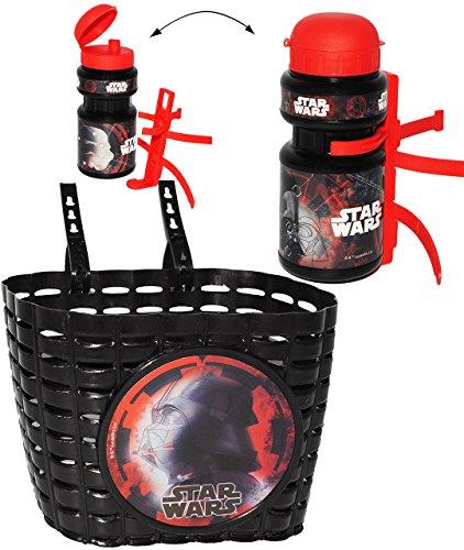 alles-meine.de GmbH 2 TLG. Set _ Fahrradkorb & Fahrradtrinkflasche -  Star Wars - Darth Vader  - mit Befestigung - Korb Fahrrad Kinder - Jungen - universal auch für Roller und ..