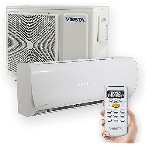 Viesta dispositivos de Aire acondicionado split - Eficiencia energética - Temporizador - Función deshumidificador - Silencioso (42~48dB) - hasta 24000 BTU para espacios de hasta 85 m² - Color blanco, Modell:AC09 (9000 BTU)