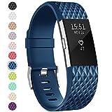 Onedream Compatible pour Barcelet Fitbit Charge 2 Femme Homme, Charge2 Sport Strap Bijou Bleu (Pas de Tracker),S