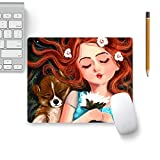 Colorpur Cute Dog With Girl Designer Mouse Pad Black Base - 8 in x 7 in | Artist: Abhijeet Sinha