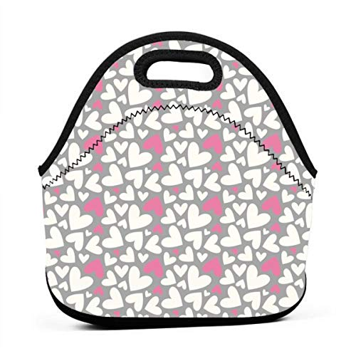 Cute Off White And Pink Hearts On Grey Background Neoprene Lunch Bag with Cutlery Case for Thermal Thick Lunch Tote Bag for Adults,Kids