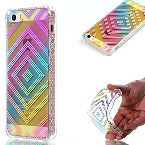 Meet de Apple iphone 5s Case, Soft Silicone Bumper Ultra Thin Slim Flexible Cover Case ,High Quality TPU with Colorful Cute Printed Pattern Fashion Design Protective Back Rubber Case Cover Shell Perfect Fitted For Apple iphone 5s - Box