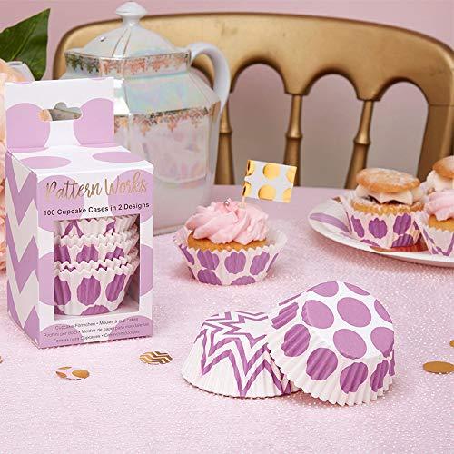 cake Förmchen Punkte lila & Zickzack-Muster lila, 100 Stück - Muffinförmchen Hochzeit Cupcake Papierförmchen Baby Shower Muffin Backförmchen Geburtstag lila ()
