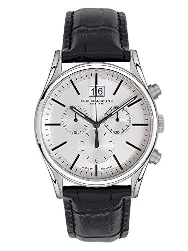 Abeler & Söhne–Made in Germany–Orologio da uomo con cronografo, Vetro Zaffiro e cinturino in pelle as3237