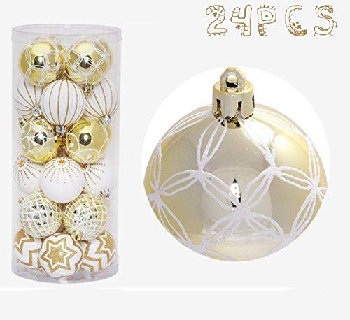 24 Boules de Noël Arbre de Noël ornements en plastique brillant 6cm, Boule de Noel Ornements Noël (Sliver)