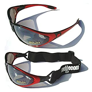 Red Ladgecom All-Weather Sunglasses & Goggles with Head Strap for Cycling, Running & Ski Sports