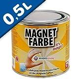Magnetfarbe - Magnetische wandfarbe - 0,5 Liter - für eine Fläche von 1,5m² - 5m² - Farbe für die Wand wirkt magnethaftend - Grundfarbe kann nach Trocknung beliebig überstrichen und gestaltet werden