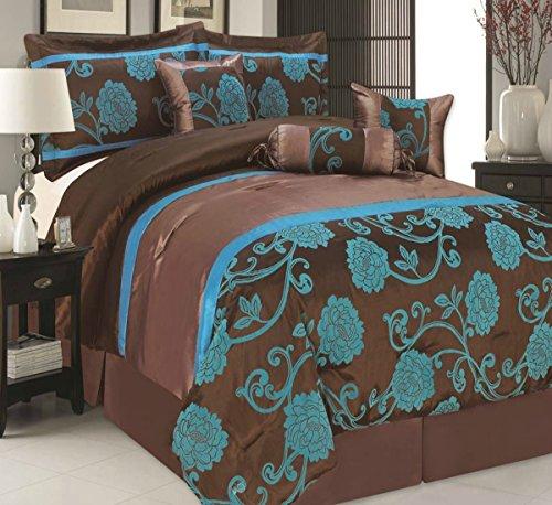 ThL Hamilton Tagesdecken Tröster Luxus 7-teilig Bett, Spread Set gefüllt Hals Roll & Kissen, Hamilton Teal, Einzelbett