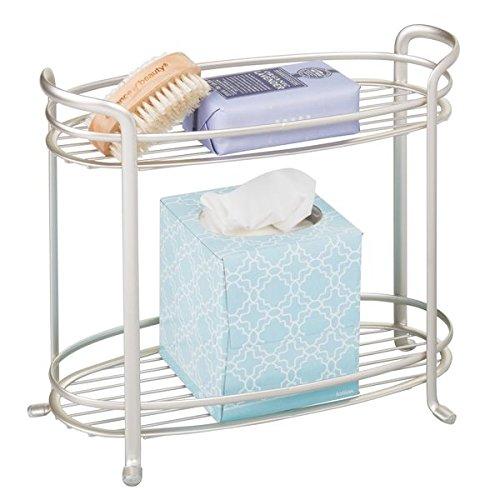 mDesign rangement salle de bain – étagère salle de bain élégante avec 2 compartiments – autonome pour des accessoires de salle de bain – meuble bas WC compact sans perçage en métal – arg