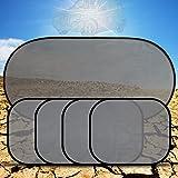 Haosen 5 pezzi/set Tendina parasole laterale Parasole auto per i bambini maglia finestra laterale tenda - Protezione contro i raggi UV nocivi,universale,Può essere del 99% riflette la luce del sole (Nero)