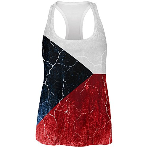 Old Glory Tschechische Republik Flagge Beunruhigte Grunge Alle über Womens Work Out Tank Top Multi MD (Tank Womens Republik)
