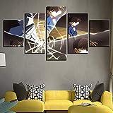 BOYH Drucke auf Leinwand 5 Stück Detektiv Conan Animiertes Charakterplakat Wall Art Home Decor,B,20×35×2+20×45×2+20×55×1