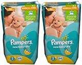 132 (2 x 66) pannolini Pampers New Baby Dry, misura 2, 3 - 6 kg, in cotone morbido