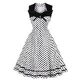 iBaste Übergröße Rockabilly Kleid Damen Ärmellos Kleid mit Polka Dots 1950er Vintage Kleid Swing Festliches Kleid Knielang Partykleid Cocktailkleid große größen-WT-XL