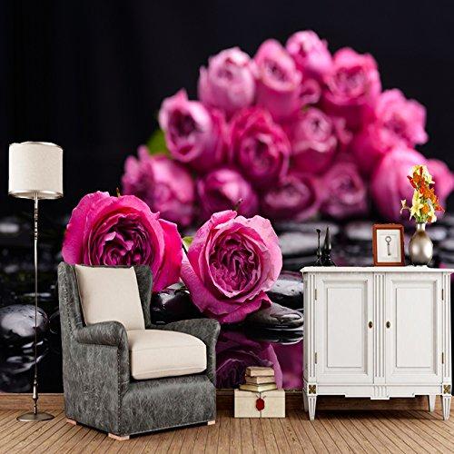 KYKDY Moderne Hauptdekorationtapete, rosa Blumennaturlandschaftswandgemälde für das Wohnzimmersofahintergrundtapeten-Rollenpapier, geprägt