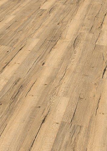 Home Eiche Design Ein (EGGER Home Comfort - Design Korkboden hell braun Holzoptik, Halifax Eiche EHC011 (8mm, 1,995m²) Designboden Kork Laminat mit Trittschalldämmung - warm & leise)