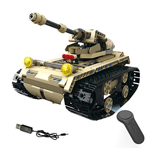XUMING RC Panzermodellbausätze, DIY zusammengebautes elektrisches Licht-Schienen-Panzer-Gebäude-Spielzeug, ferngesteuertes Panzerwagen-Spielzeug, für Kinder ab 8 Jahren