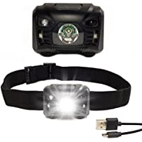 USB Rechargeable Head Torch—Running Torches for Runners—Super Bright Waterproof Headtorch Lightweight LED Sensor Headlamp—Powerful Red & White Light—Adjustable Strap & USB Cable Included—Outdoor Camping DIY Fishing Hiking Walking Cycling Night Reading Kids