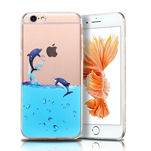Cover iPhone 6 plus Custodia iPhone 6s plus Silicone Anfire Morbido Flessibile TPU Gel Case Cover per Apple iPhone 6 plus/6s plus (5.5 Pollici) Ultra Sottile Clear Trasparente 3D Copertura Antiurto Bu Pinguino