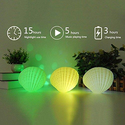 SRFAR Multifunktion Nachtlicht Bluetooth Lautsprecher, LED Muscheln geformt 7 Farbwechsel Lampe, mit Stereo-Musik-Lautsprecher (Muscheln) (Drahtlose Für Außenbereich Den Lautsprecher)