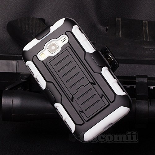 Galaxy Core Prime / Win 2 / Prevail Coque, Cocomii Robot Armor NEW [Heavy Duty] Premium Belt Clip Holster Kickstand Shockproof Hard Bumper Shell [Military Defender] Full Body Dual Layer Rugged Cover Case Étui Housse Samsung G360 G361 (White)