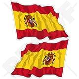 """España Español Bandera de saludando Espana 4,7""""(120mm) carcasa de vinilo pegatinas, calcomanías x2"""