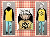 One Piece Trafalgar Law cosplay set-- Chaqueta con capucha + pantalones + sombrero, tamaño L (altura 166-172 cm, peso 60-70 kg)