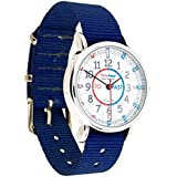 EasyRead Time Teacher Children's Watch, 'Minutes Past' & 'Minutes To', Red, Blue, Grey Face / Navy Blue Strap