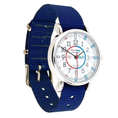 EasyRead Time Teacher Childrens Watch, Minutes Past amp; Minutes To, Red, Blue, Grey Face / Navy Blue Strap