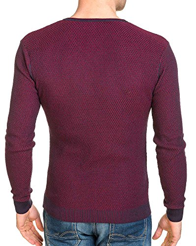 BLZ jeans - Pullover homme long fine maille bordeau col V Rouge