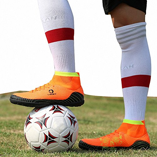 Ben Sports Tf AG FG Entraînement de Football Homme Garçon Boots Chaussures de Football Mixte Adulte Enfant,33-45 TF-Orange