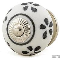Ceramica Vintage Mobili pulsante NR 0078Jay pulsante 11Grigio Nero BK 5001e R7–132K13Shabby Chic Retro in porcellana pomello maniglia - Sfera Nave